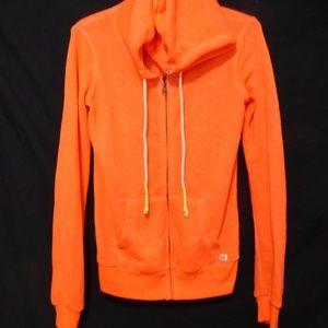 Billabong orange zip up sweatshirt hoodie, small